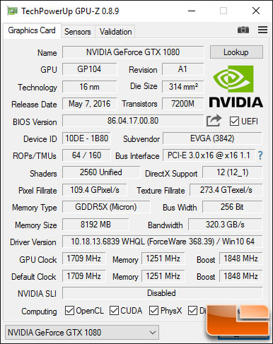 EVGA GeForce GTX 1080 SC GPU-Z