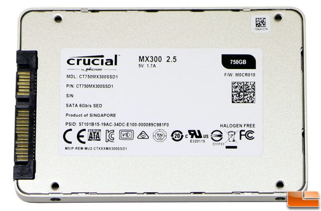 Crucial MX300 750 SSD Label