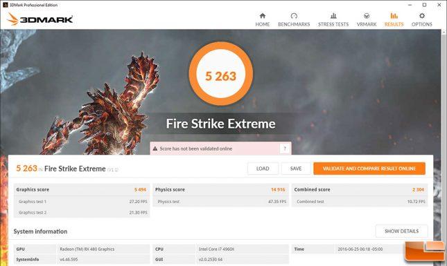AMD Radeon RX 480 Fire Strike Stock
