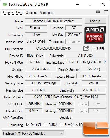 AMD Radeon RX 480 Video Card