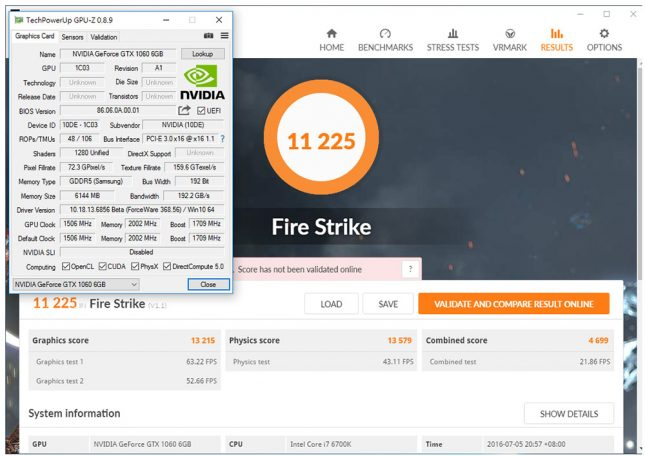 GeForce GTX 1060 GPU-Z and 3DMark Fire Strike