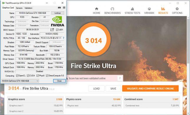 GeForce GTX 1060 6GB - 3DMark Fire Strike Ultra Results