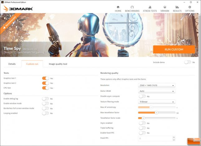 3DMark Time Spy Settings