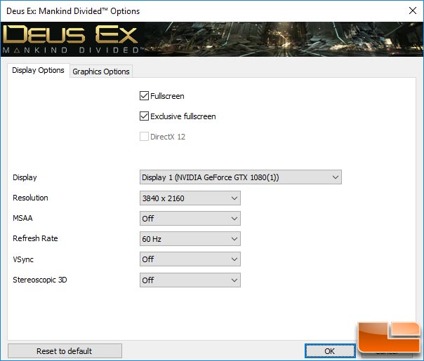 Deus Ex: Mankind Divided Graphics Settings