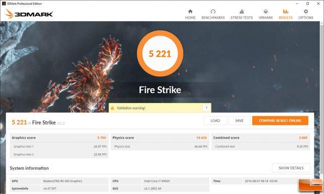 Radeon RX 460 3DMark Fire Strike