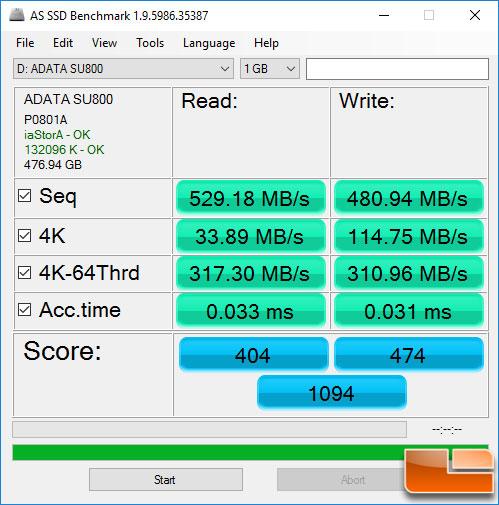 ADATA SU800 512GB ASSSD Benchmark