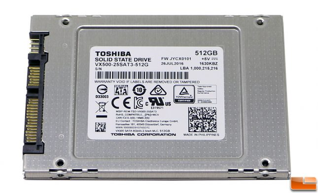 VX500 SSD Back Label