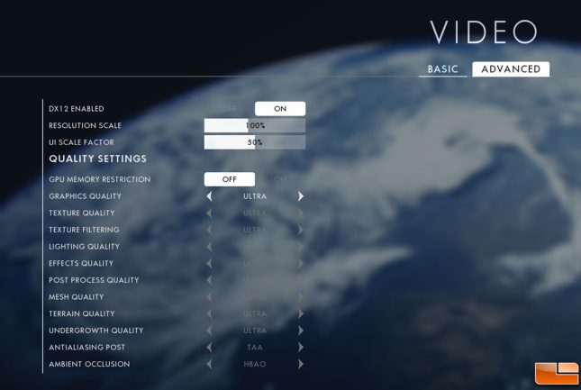 Battlefield 1 Advanced Video Card Settings