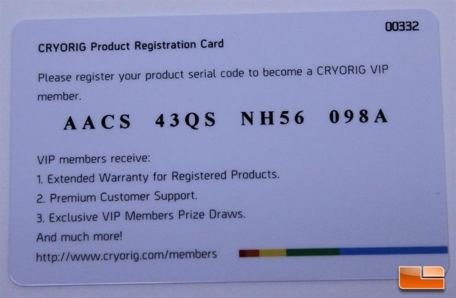 Cryorig A40 Registration Card