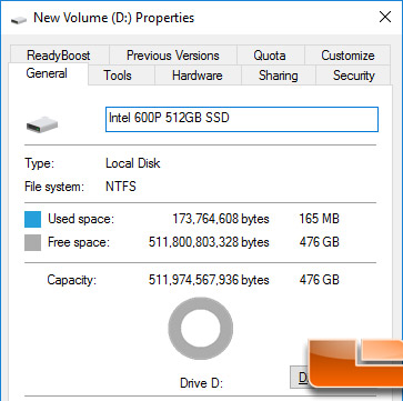 Intel SSD 600p Capacity in Windows 10