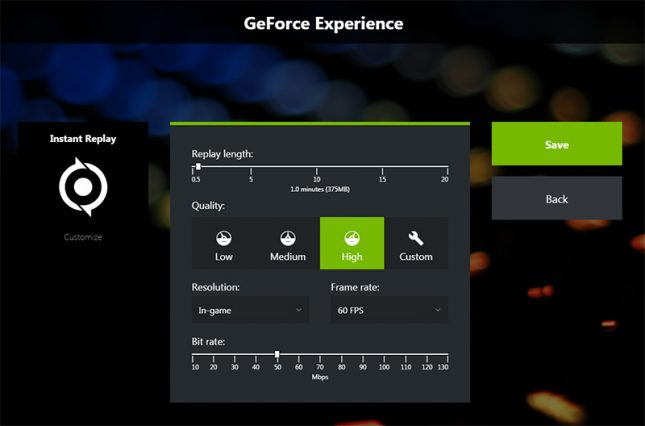 GeForce Experience Instant Replay