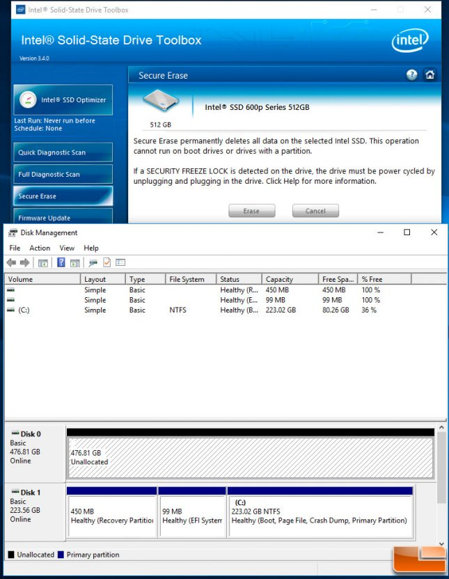 Intel SSD Toolbox Secure Erase