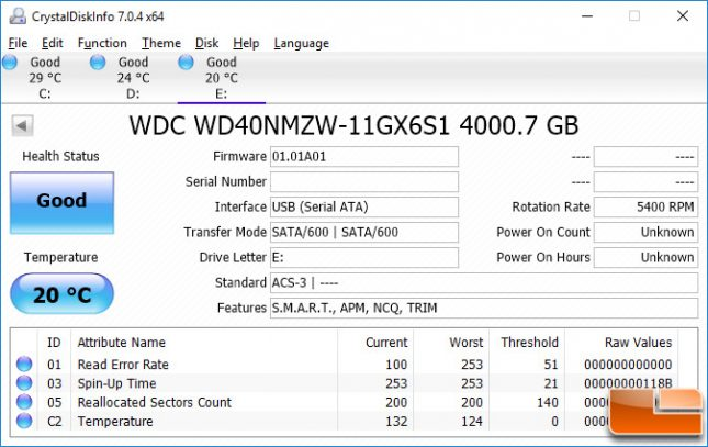 WD My Passport 4TB Crystal Disk Info