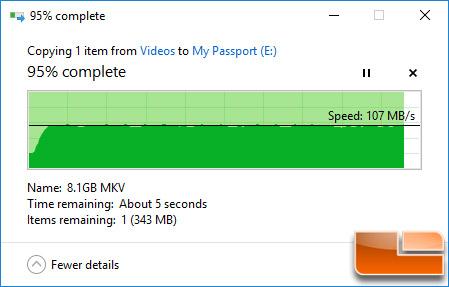 WD My Passport 4TB Movie File Transfer