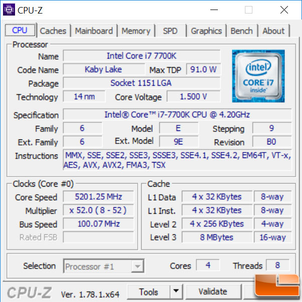 Intel Core i7-7700k At 5200MHz