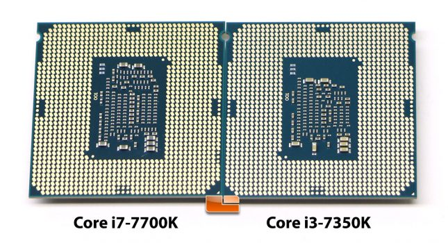 Intel Core i7-7700K and Core i3-7350K Pins