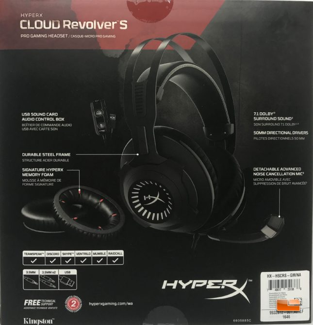 HyperX Cloud Revolver S Gaming Headset Box Back