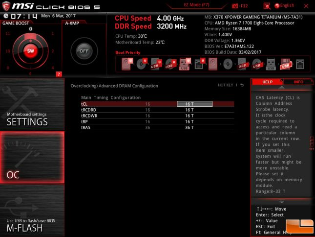 MSI X370 Memory Timing Adjustments