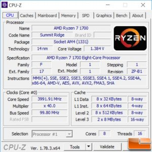 Ryzen 7 1700 Overclocked to 4.0 GHz