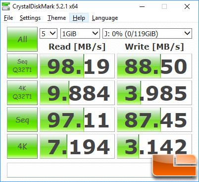 Samsung EVO Plus 128GB MicroSDXC CyrstalDiskMark Benchmark