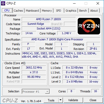 Ryzen 7 1800X - Stock Frequency