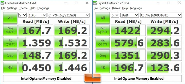 Intel Optane Memory CrystalDiskMark