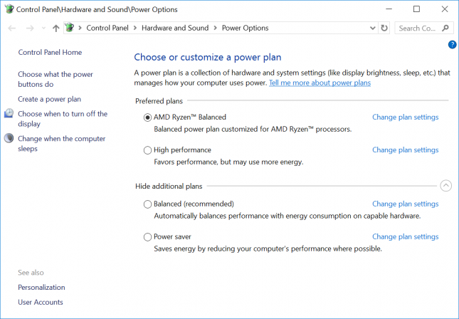 AMD Ryzen Windows 10 Custom Power Plan