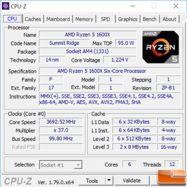 AMD Ryzen 5 1600X CPU-Z Stock