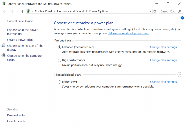 Windows 10 Power Plan