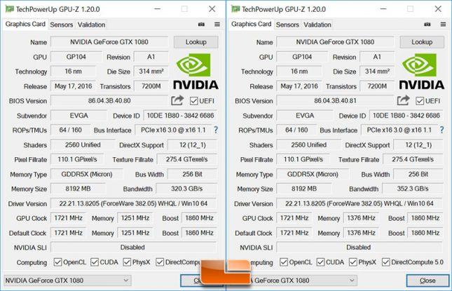EVGA GeForce GTX 1080 FTW2 11GHz Memory