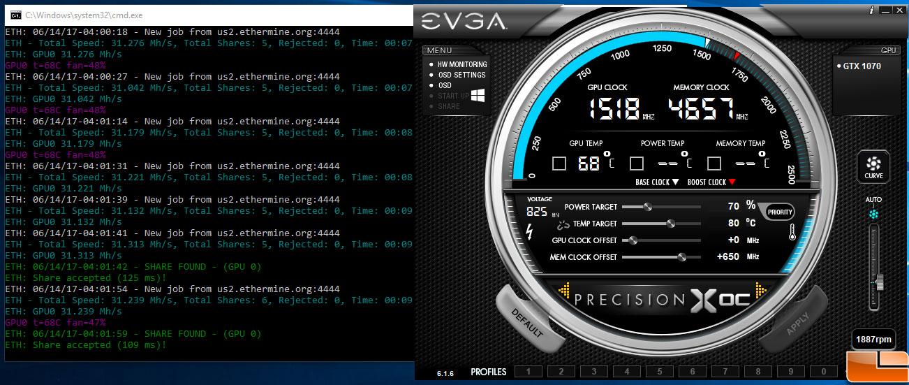 GeForce GTX 1070 Ethereum Mining - Small Tweaks For Great Hashrate