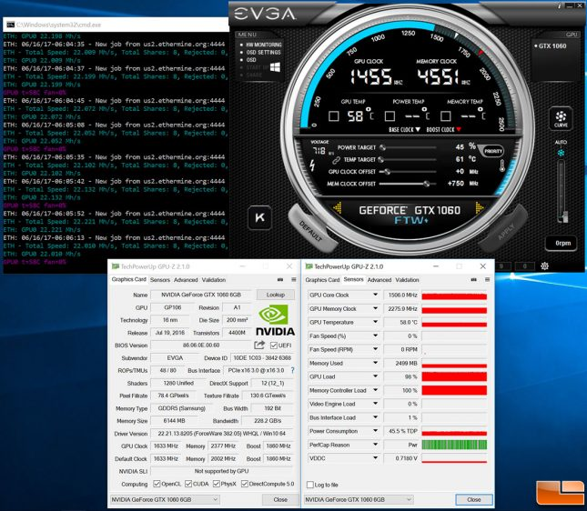 EVGA GeForce GTX 1060 Ethereum Mining With No Fans