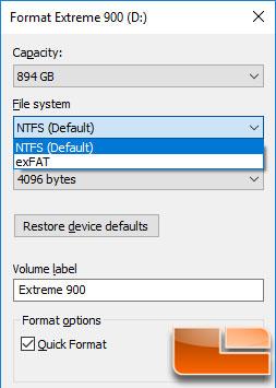 SanDisk Extreme 900 960GB NTFS Format