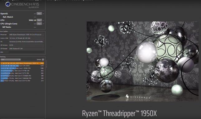 AMD Ryzen Threadripper 1950X Cinebench
