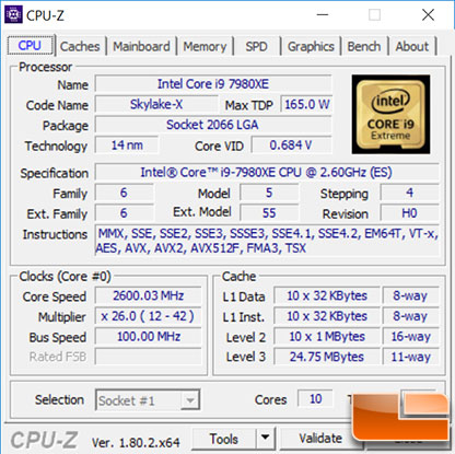 Intel Core i9-7980XE Stock CPU-Z