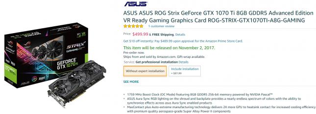 ASUS ASUS ROG Strix GeForce GTX 1070 Ti