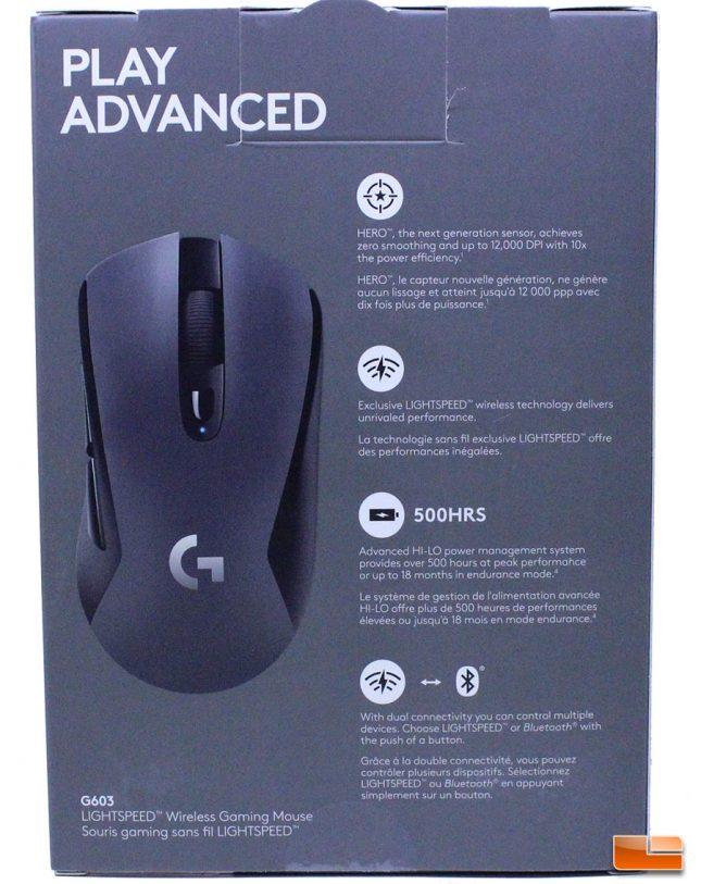 Logitech G603 LightSpeed Wireless Gaming Mouse - Retail Box (Rear)