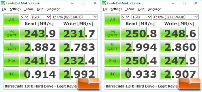 Seagate BarraCuda Pro 12TB versus 10TB CrystaDiskMark