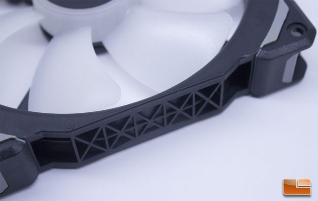 The Corsair ML140 Pro RGB features a side-cut pattern that makes the frame stronger