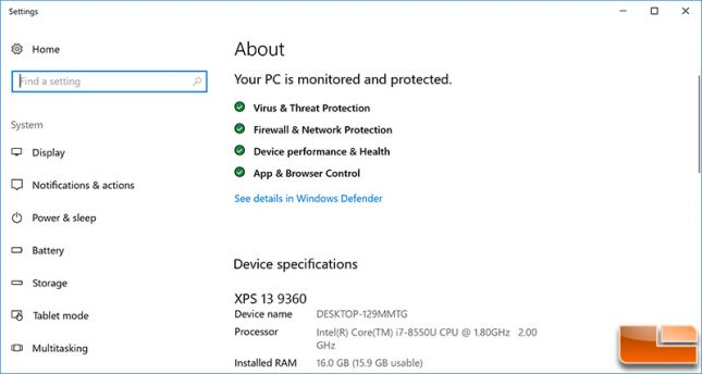 Dell XPS 13 9360 About System