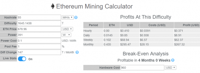 Ethereum Mining Profit From Four GTX 1060 Video Cards