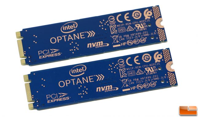 Intel Optane SSD 800P 58GB and 118GB Back