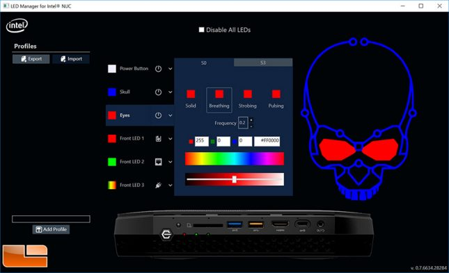 Hades Canyon Intel LED Manager Software