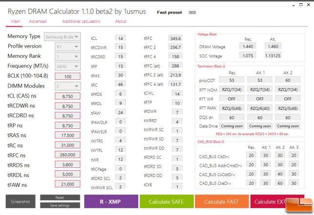 Ryzen DRAM Calculator