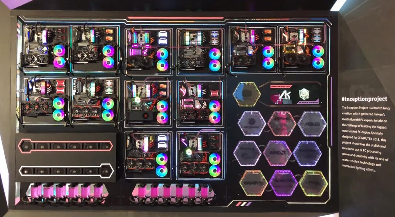 crazy $100k wall pc at computex 2018 #inceptionproject - legit reviews