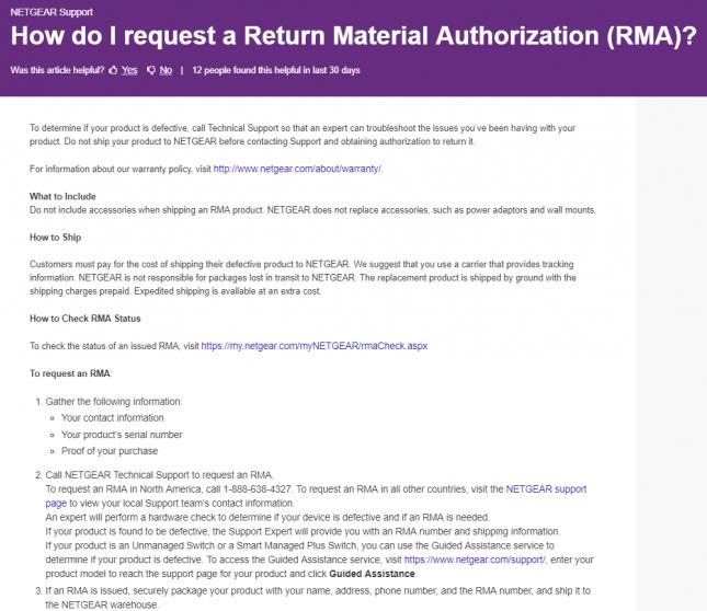 Netgear RMA Procedure