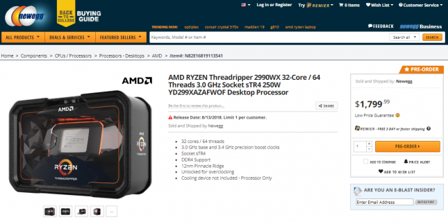 AMD RYZEN Threadripper 2990WX CPU Pre-Order