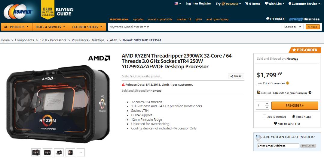 Pre-Order The AMD RYZEN Threadripper 2990WX 32-Core / 64 Thread CPU