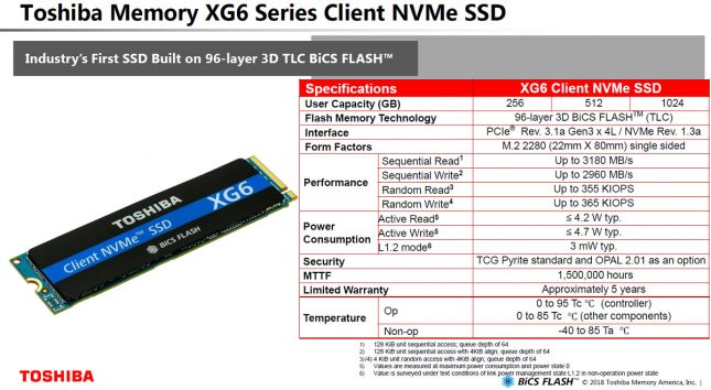 Toshiba XG6 Specifications