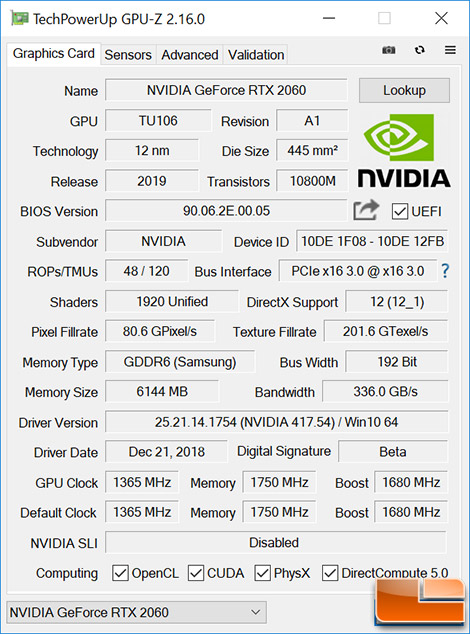 GPU-Z For GeForce RTX 2060 FE